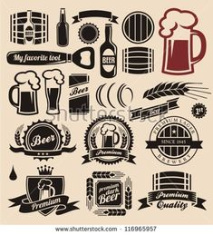 Beer And Beverages Design Elements Collection Stock Vector - Illustration of ribbon, lager: 27375418