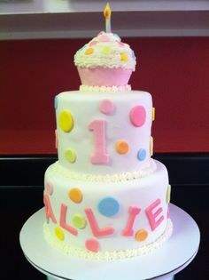 First Birthday cake - This cake was polka dot inside too!