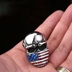 Mens Womens Jewelry National Flag Skull 316L Stainless Steel Ring R235 Sz 8-13