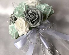Artificial Wedding Flowers, Brides Posy Bouquet with Mint Green, Grey and White Roses with brooches, crystals and diamantes Mint Wedding Themes, Grey Wedding Decor, Silver Wedding Decorations, Green Wedding Dresses, Wedding Mint Green, Silver Wedding Invitations, Wedding Art, Wedding Ideas, Wedding Bouquets