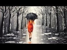 Black and white forest path with lady in a red dress with umbrella. Neat painting, YouTube