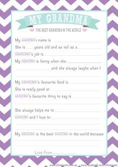 Free Personalised Grandma Mother's Day Questionnaire Printable.  www.olliesroom.com.au x
