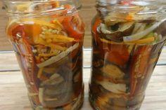 Jak udělat houbový salát na zimu | recept Pickles, Cucumber, Salsa, Mason Jars, Stuffed Peppers, Canning, Vegetables, Recipes, Food