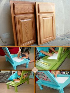Kitchens get dumped every day of the week. Here's a great DIY recycling project for art loving kids! Learn how to make this DIY cupboard door art desk by viewing the full album of this project at http://theownerbuildernetwork.co/easy-diy-projects/diy-cupboard-door-art-desk/ Would the kids love this idea?