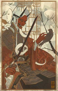 King of Swords [Reversed] Japanese Art Prints, Japanese Artwork, Japanese Tattoo Art, Fantasy Character Design, Character Design Inspiration, Character Art, Ancient Japanese Art, Traditional Japanese Art, Japan Illustration
