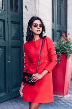 #PFW Street Style - Valentino Dress, Dolce & Gabbana DNA Cat-Eye Sunglasses + Louis Vuitton Petite Malle black bag