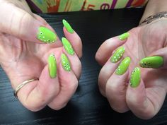 Lime Green with Black and White Spots | Nails by Bex