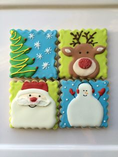 decorated christmas cookies decorated sugar cookies santa rudolph tree and snowman