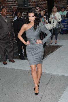 grey dress kim kardashian