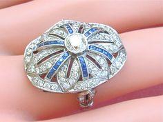 Edwardian to Art Deco 1.70ctw diamond .65ctw sapphire platinum large cocktail ring on Etsy, $4,650.00