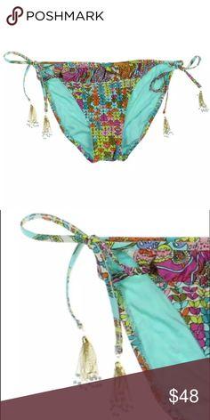 Trina Turk String Bikini Bottom! NEW! Gorgeous colorful bottoms by Trina Turk! Amazing gold chain tassels with beads! Will take live pics soon! Trina Turk Swim Bikinis