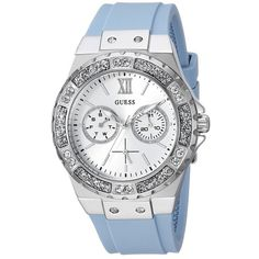 GUESS U1053L5 (Light Blue) Watches ($105) ❤ liked on Polyvore featuring jewelry, watches, guess jewelry, glitter jewelry, silicone strap watches, bezel watches and water resistant watches