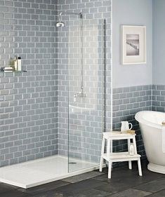 Grau Und Blau Badezimmer Ideen Gray and blue bathroom ideas # Bathroom Furniture furniture ideas Grey Bathroom Tiles, Loft Bathroom, Downstairs Bathroom, Grey Bathrooms, Bathroom Renos, Beautiful Bathrooms, Bathroom Flooring, Bathroom Furniture, Bathroom Interior