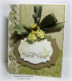 Happy New Year Card ~*~ Hope Perches rubber stamp set ~*~ Contemporary Greetings rubber stamp set ~*~ from Red Rubber Designs www.RedRubberDesigns.com