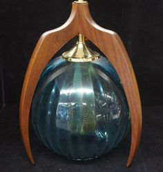 Rare Genuine Mid Century hand Blown Walnut Swag Lamp Light Fixture Lamp