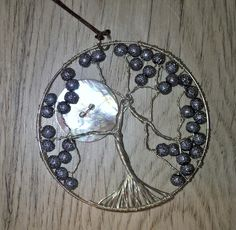 Necklace, silver tree with moon