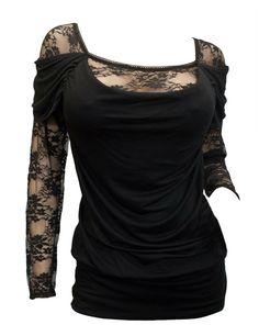 Amazon.com: eVogues Plus size Floral Lace Sleeve Top Black