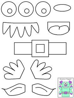 lunch bag template | Halloween Craft Ideas – Monster Puppets | IKidz Training ...