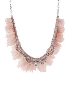Paula Bianco 'Romantic Embellishment' Blush Pink Chiffon With Crystal Detailed Mixed Necklace