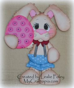 Standing Bunny Easter with egg Premade Scrapbooking by MyCraftopia, $5.95