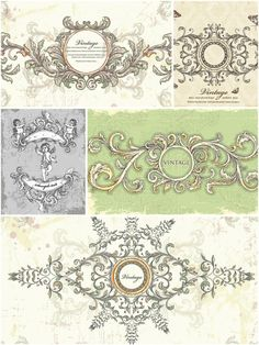 Vintage wedding frames set vector | CGIspread | Free download