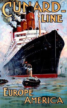 Cunard Line Europe America Passenger Liner - www.MadMenArt.com features over 500…