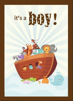 noah's ark Shower Ideas For Boys | Noah's Ark Boy Baby Shower Invite