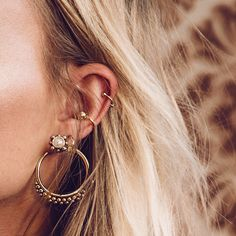 """Add an edge to your look and fall in love with a these fabulous Luv Aj Versailles Two-Piece Hoop earrings. - Pearl Ornament Studs with Ball Studded Hoop Posts. - Back Hoop is 1.5"""" Tall - Antique Gold-Plated Brass"""