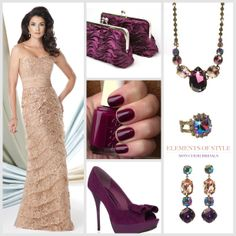 "Elements of Style ""Pop of Plum"" by Mon Cheri features Montage style 114924: Strapless sequin lace & chiffon slim A-line dress.  Colors available: Champagne, Navy Blue, Ivory, Black/Nude Sizes available: 4 – 20. Need a way to make your neutral dress pop?  Add a jeweled tone accent color like Plum to accessorize your look.  A pop of color makes any neutral color dress stand out leaving all eyes on you. #moncheribridals #elementsofstyle #MontagebyMonCheri #114924 #IvonneDome #popofplum…"