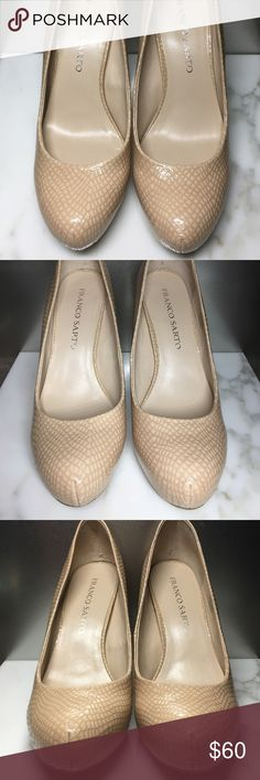 """Franco Sarto Cicero Pump Natural is the official color but I would call it a light beige rose. Patent Leather, synthetic soles. Heel is approx. 4"""" in. Platform is approx. 0.75 in. with a hidden wedge. Excellent unused condition. A few small knicks pictured in final image. Born near Venice in 1949, apprentice craftsman by age 14 - it is this start as a cobbler and Sarto's passion as a designer that make him a rarity in the industry. To this day he still sketches most of his designs by hand…"""