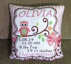 Personalized Baby Birth Announcement Pillow New Born New Parents or Christening Gift