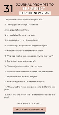 If you're looking for ways to stick to your resolutions and set goals for the new year, then these 31 journaling prompts are right for you. Journal prompts. Daily Journal Prompts, Self Care Activities, Family Activities, Journal Questions, Reflection Questions, New Year Goals, Self Development, Personal Development, Nouvel An