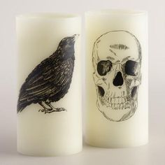 One of my favorite discoveries at WorldMarket.com: Skull and Crow Flameless LED Pillar Candles, Set of 2