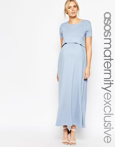 Image 1 of ASOS Maternity NURSING Maxi Dress With Double Layer