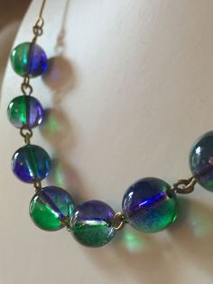 art deco 1930s vintage Style Bicolour Green Lavender Glass Bead necklace  | eBay