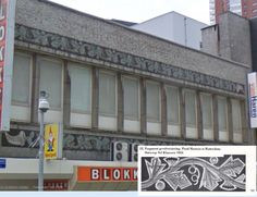 Hoogstraat 196, Rotterdam (Google Maps), building from 1953 with tiles in relief by the Porceleyne Fles, design Nel Klaassen...