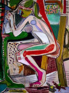 """Art et peinture du fond du cœur. Passion, la couleur, l'émotion.  Jose Manuel Merello.- """"Desnudo sentado""""  //  """"Sitting nude"""" Mix Media on canvas (73x54 cm) (2000-2001)  Fauvisme contemporain. Expressionnisme. Art espagnol. http://www.merello.com"""