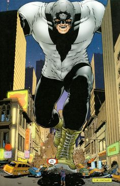 "A giant super-hero character [can't recall his name], menacing the Doctor in ""The Authority."" [Art by Frank Quitely.]"