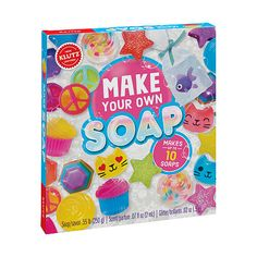 Making soap has never been this easy! Klutz brings you a complete kit for melting and molding up to 10 soaps from scratch. With the included soap molds, bright colors, coconut papaya fragrance, soap stickers, and skin-safe glitter, you'll be well on your way to being squeaky-clean in no time. Plus, while you're waiting for your signature soap to harden, you'll enjoy the added soap-based science experiments you can do right in your own kitchen.Learning Skill: Creative ThinkingMeasurements: 8… Sand Crafts, Seashell Crafts, Diy Crafts, Creative Crafts, Summer Crafts, Crafts For Kids, Arts And Crafts, Toys For Girls, Kids Toys