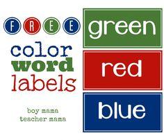 Boy Mama Teacher Mama | FREE Color Word Labels