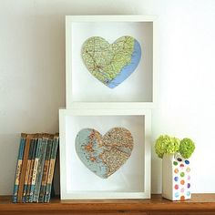 put maps marking both of your home towns in frames - cute idea! ** every city/town you have lived in...**