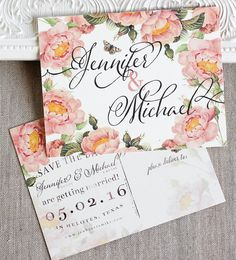 Blush Pink Roses Wedding Save the Date by SunshineandRavioli