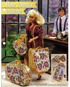 plastic canvas patterns for barbie furniture | Rose Tapestry Luggage: Barbie Plastic Canvas Pattern Annies Attic