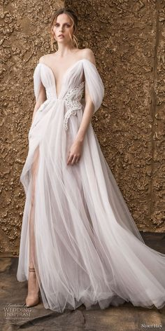 "Nurit Hen 2018 Wedding Dresses — ""Golden Touch"" Bridal Collection Nurit Hen's 2018 bridal collection blends unconventional silhouettes with unique, feminine details. The ""Golden Touch"" collection features bohemian style wedding gowns with soft, Soft Wedding Dresses, Dresses Elegant, Bridal Dresses, Beautiful Dresses, Wedding Gowns, Lace Wedding, Spring Wedding, Edgy Wedding, Wedding Colors"