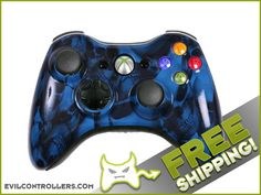 Custom Xbox 360 Controller with Blue Skullz Shell - Brand New Xbox Controller