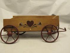 Vintage Wall Wooden Wagon Metal Wheels Folk Art in Wall Pockets   eBay