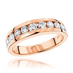 Luxurman 14k Gold Men's 1 1/10ct TDW Diamond Wedding Ring (H-I, SI1-SI2) (14K Rose Gold Size 12.5) (solid)