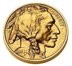 One Ounce Gold American Buffalo (Obverse). The front of this coin depicts a Native American based on three different chiefs. This is the first time ever that the United States Government has minted pure (.9999) 24-karat gold coins for the public.