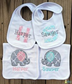 Monogrammed Baby Bib and Burp Cloth Set Two by TheGiftingSpot