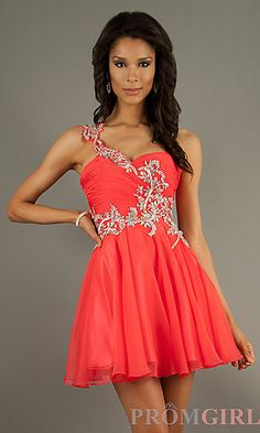 Short One Shoulder Homecoming Dress at PromGirl.com #fashion #dresses #homecoming